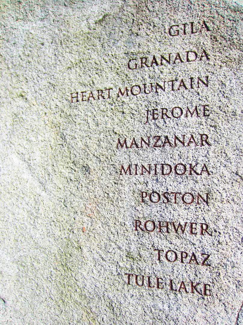 Gila, Granada, Heart Mountain, Jerome, Manzanar, Minidoka, Poston, Rohwer, Topaz, Tule Lake